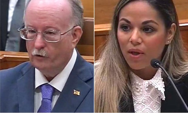 Kevin Tynan, who represented South Florida lawyer Stephan Rakusin, and the second is Linda Gonzalez, who represented the Florida Bar. Photo: Florida Supreme Court livestream.