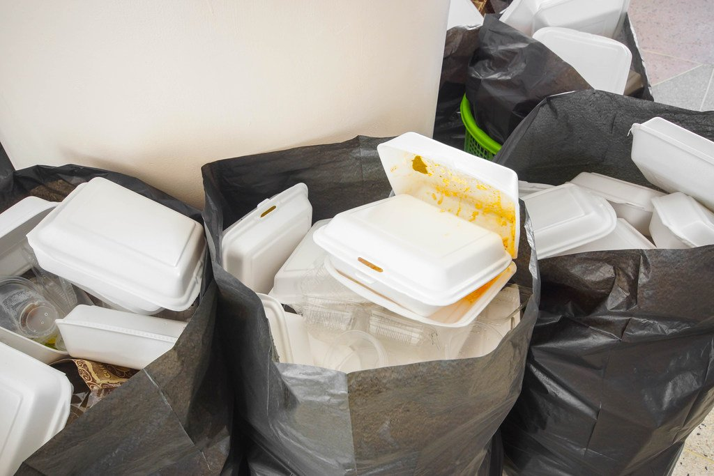 Styrofoam food containers in bins. Photo: wk1003mike/Shutterstock.com