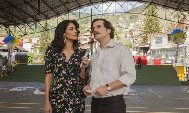 "Valeria Velez (Stephanie Sigman), left, and Pablo Escobar (Wagner Moura), right, in the Netflix series ""Narcos."""