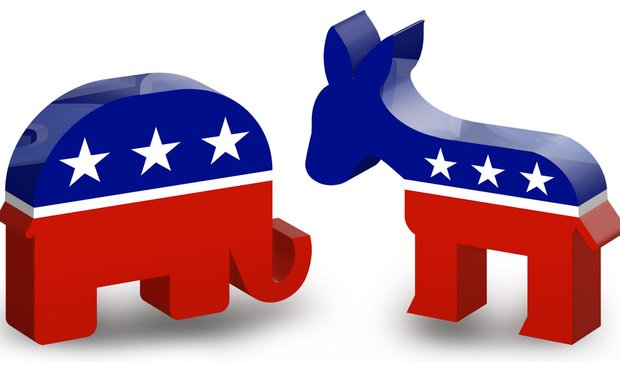 Republicans and Democrats. Image: DonkeyHotey/Flickr