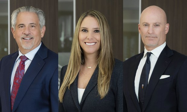 Howard Talenfeld, Stacie Schmerling, and Justin Grosz, partners with Kelley Kronenberg in Davie