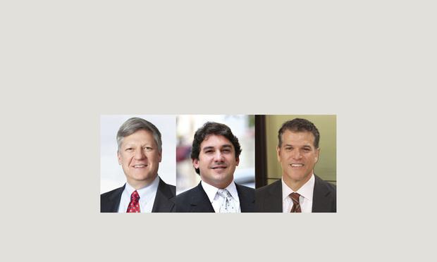 (l-r) Carlton Fields shareholder Daniel Weede in Atlanta, Sanchez-Medina, Gonzalez, Quesada, Lage, Gomez & Machado partner Roland Sanchez-Medina Jr. in Coral Gables, and Joe Hernandez in Miami.