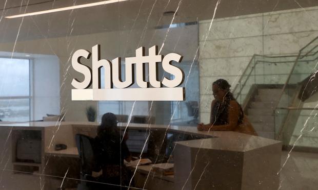 Shutts & Bowen logo in Miami office.