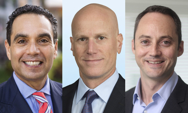 From left, Aronfeld Trial Lawyers founder and managing partner Spencer Aronfeld in Coral Gables, Colliers International South Florida executive managing directors of office services Jonathan Kingsley in Fort Lauderdale and Stephen Rutchik in Miami. Courtesy photos