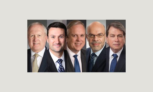 From left, Mark Schnapp, Matthew Chester, Michael Clark, Aldo Leiva and Joe D. Whitley, Baker Donelson