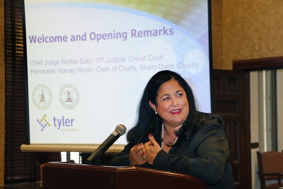 02/24/15- Miami- Chief Judge Bertila Soto, 11th Judicial Circuit of Florida, speaks at forum to inform and answer questions about transforming all Miami-Dade Circuit and County Civil operations from paper to paperless operations.