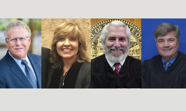 From left: Steven R. Jaffe mediator with Upchurch Watson White & Max, Judge Barbara Areces, Judge Alan Fine and Judge John Kastrenakes.