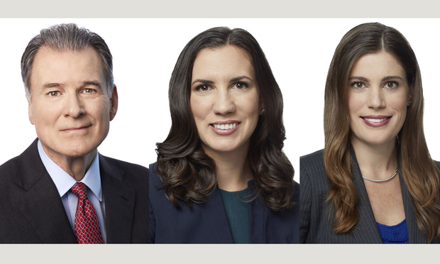 Bilzin Sumberg real estate partner Jim Shindell and real estate Attorney Hannah Lidicker and corporate attorney Lauren Sabella in Miami.