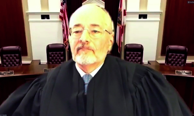 Screenshot of Florida Supreme Court Justice Charles Canady during the court's first remote oral arguments.