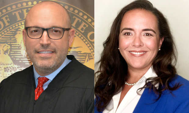 Miami-Dade Circuit Judge Thomas Rebull, left, and Denise Martinez-Scanziani, right, of Martinez-Scanziani & Associates Law. Courtesy photos.
