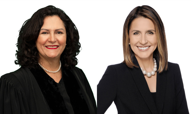Miami-Dade Circuit Judge Mavel Ruiz,left, and Marcia Giordano Hansen of Hansen Law Firm. Courtesy photos.
