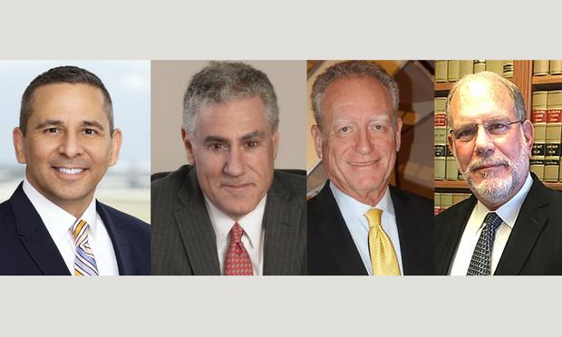 Carlton Fields shareholder Christopher Smart in Tampa; Waldman Barnett partner Glen Waldman in Miami; attorney Mark Perlman in Hallandale Beach; and Blaxberg, Grayson, Kukoff & Forteza founding member I. Barry Blaxberg in Miami.