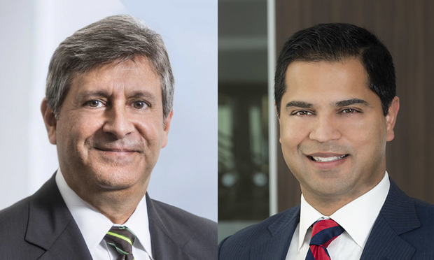 Jeffrey Gilbert, a partner with Cozen O'Connor in Miami; and Harsh Arora, partner at Kelley Kronenberg in Fort Lauderdale