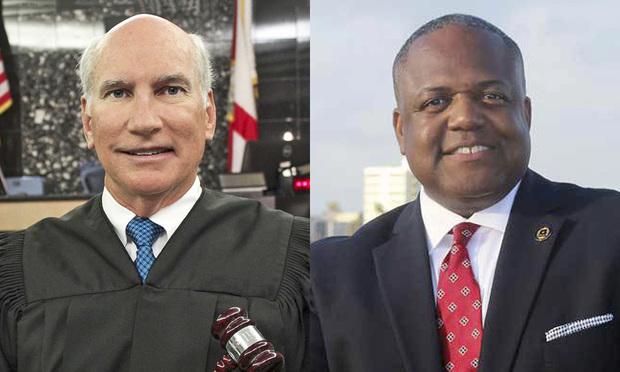 Palm Beach Circuit Judge Jeffrey Dana Gillen and Henry Quinn Johnson of Albertelli Law in Fort Lauderdale. Courtesy photos.