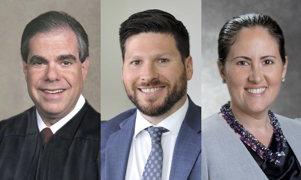 incumbent Palm Beach Circuit Judge Jamie Goodman, Adam Myron, senior counsel at Day Pitney in West Palm Beach, and Caryn Siperstein, assistant attorney general in Fort Lauderdale. All are running for Palm Beach Circuit Judge, Group 30, in Florida's primary elections. Courtesy photos.