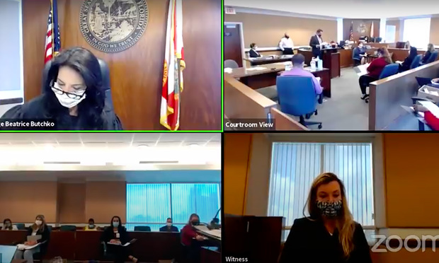 Miami-Dade Circuit jury trial People's Trust Insurance Company vs. Yusem Corchero et al conducted in person. Photo: Miami-Dade Circuit YouTube channel.