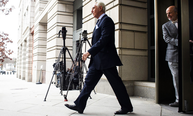 Former Trump adviser Roger Stone, trailed by his former defense attorney Bruce Rogow.
