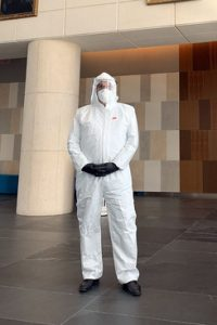 Miami attorney Samuel Rabin in a hazmat suit at the federal courthouse in Miami. Courtesy photo.