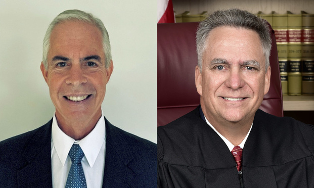former judge Matthew Destry and Judge Frank Ledee, who are running for Broward Circuit Judge, Group 27 against Meredith Chaiken-Weiss. Courtesy photos.
