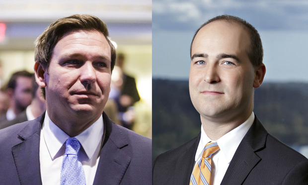 Ron DeSantis, left, and Daniel Nordby, right. Photos: ALM/Courtesy.