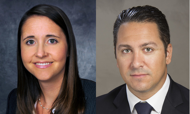 Noelle P. Pankey, partner at Akerman's West Palm Beach office representing UBS Financial Services, left, and Herman J. Russomanno III, of Russomanno & Borrello in Miami, who was representing David Efron, right.
