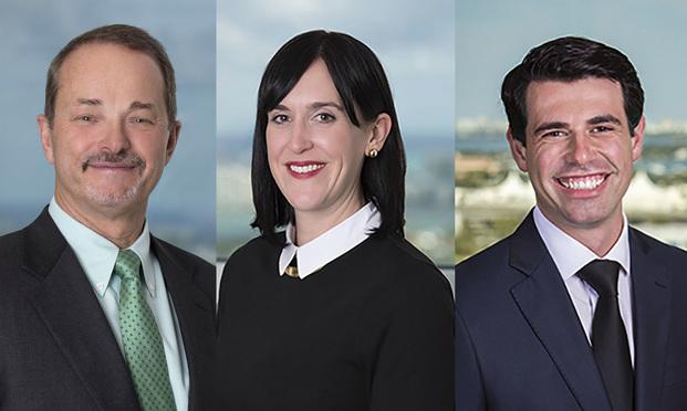 (l-r) Ed Patricoff, Kristin Drecktrah Paz, and Aleksey Shtivelman, of Shutts & Bowen.