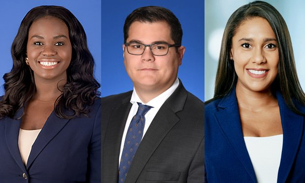Assistant Miami-Dade County Attorney Altanese Phenelus and Angelo Castaldi of Genovese Joblove & Battista in MIami And Katherine Chin. Courtesy photos