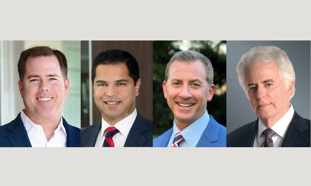 (l-r) Andrew Gordon, a partner at Hinshaw & Culbertson LLP in Fort Lauderdale; Harsh Arora, a partner at Kelley Kronenberg in Fort Lauderdale; Dan Dolan, a partner at Dolan Dobrinsky Rosenblum Bluestein, LLP in Miami; and Barry Richard, a shareholder at Greenberg Traurig in Tallahassee. Courtesy photos