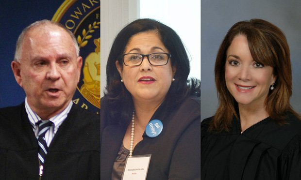 (L to R) Broward County Court Chief Judge Jack Tuter, Miami-Dade Circuit chief judge Bertila Soto, 11th Judicial Circuit of Florida and Palm Beach Circuit Court Chief Judge Krista Marx. (Photos: J. Albert Diaz/ALM/Courtesy Photo)