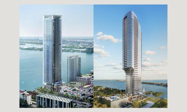 (l-r) Miami's Missoni Baia and the Una Residences towers. Courtesy photos