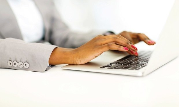 african businesswoman hands working on laptop happy, typing, computer