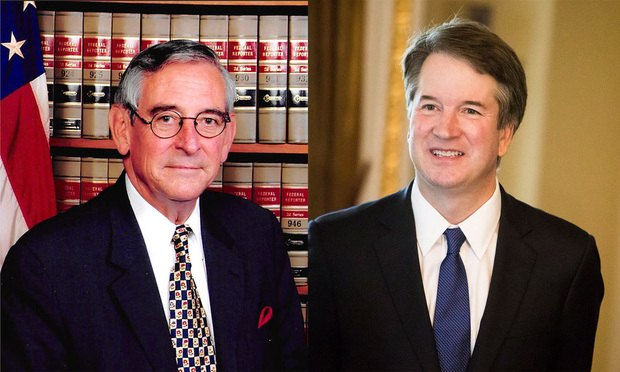 Pictured, from left, are Judges Walter K. Stapleton and Brett Kavanaugh.