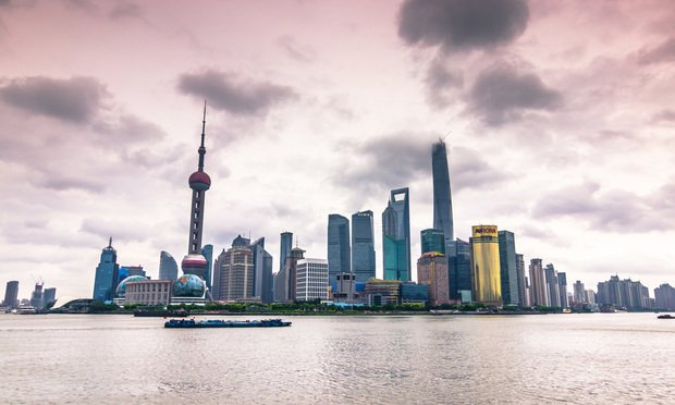 Panoramic view of the Pudong district of Shanghai