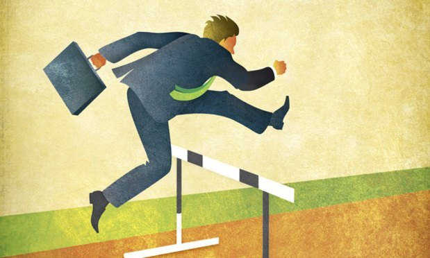 businessman hurdles