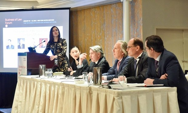 "(L-R ) Gina Passarella, American Lawyer; Mary Shen O'Carroll, CLOC; Dan Reed, UnitedLex; Mark Cohen, Elevate Services; Mark Smolik, DHL Supply Chain America and Anthony Crowell, NY Law Schoolnon a panel titled ""The Evolution of the Legal Services Model"" at Legalweek at the New York Hilton Hotel in New York on Tuesday, January 30, 2018...(Photo by David Handschuh/NYLJ)"
