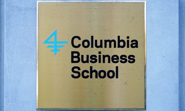 Sign for the Columbia Business at Columbia University, an Ivy League private research university located in New York City.