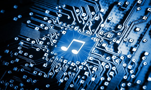 Music note on computer chip, mp3