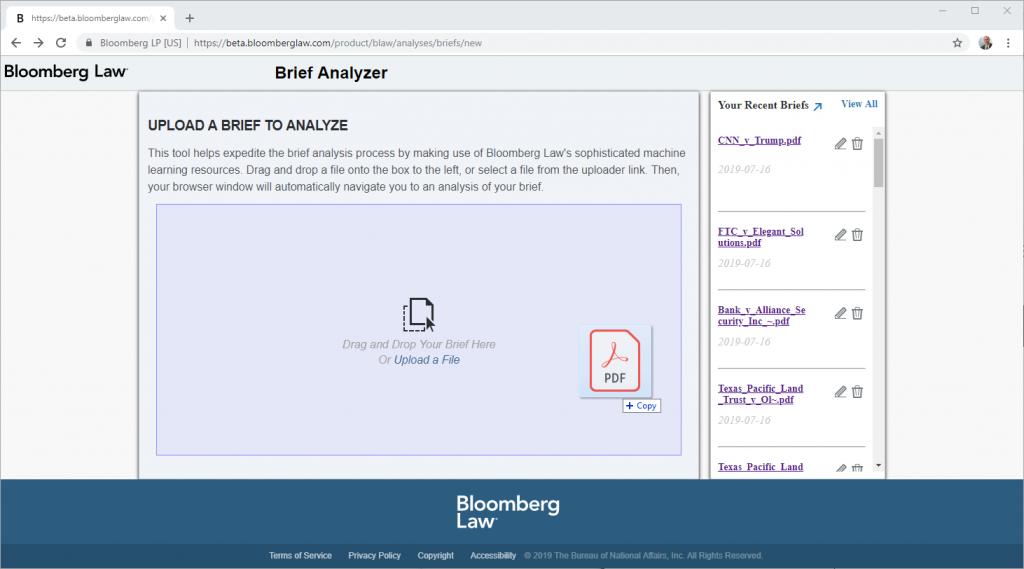 Bloomberg Law brief analyzer, document upload screen.
