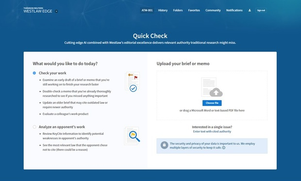 Thomson Reuters Releases Quick Check, an Automated Brief