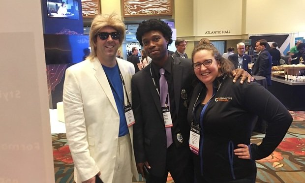 (L to R) Chris Cangero, CEO, Docstyle; Adrian Bailey, Chief Architect, Docstyle; and Jennifer Hart, CEO, Connective Counsel at ILTACON 2019's exhibit hall opening.