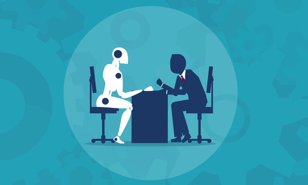 robot and man at desk.