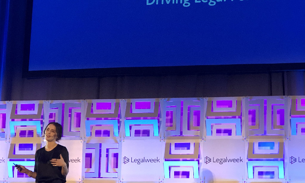 Bettina Warburg, a blockchain researcher and entrepreneur, on the Day 2 keynote at Legalweek 2020. Photo: Carley Meiners/ALM.