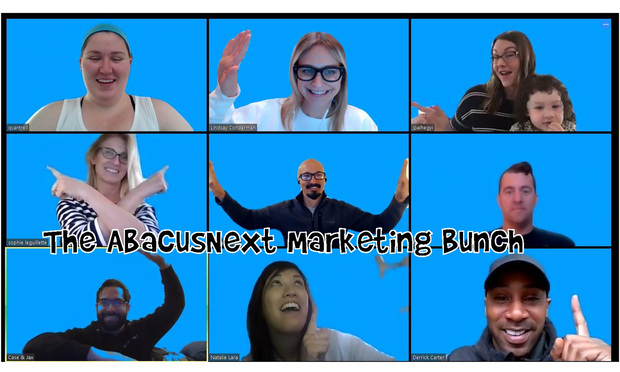 The AbacusNext marketing team taking on the Brady Bunch in a recent Zoom call. (Photo: Lindsay Pinkos/AbacusNext)