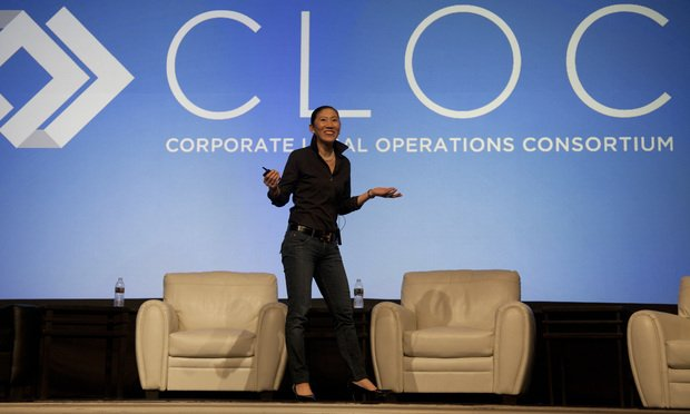 Mary O'Carroll speaking during the closing keynote at CLOC's 2020 conference. Photo: Caroline Speizio/ALM.