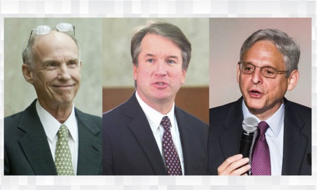 From left to right: Judge J. Harvie Wilkinson III of the U.S. Court of Appeals for the Fourth Circuit; Judge Brett Kavanaugh and Chief Judge Merrick Garland of the U.S. Court of Appeals for the D.C. Circuit.