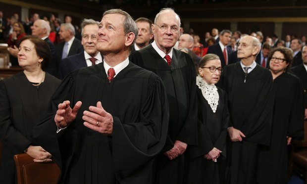 Supreme Court Justice Elena Kagan, from left, Chief Justice John Roberts, Justice Anthony Kennedy, Justice Ruth Bader Ginsburg, Justice Stephen Breyer, and Justice Sonia Sotomayor arrive before President Barack Obama delivers the State of the Union address Tuesday, Jan. 12, 2016