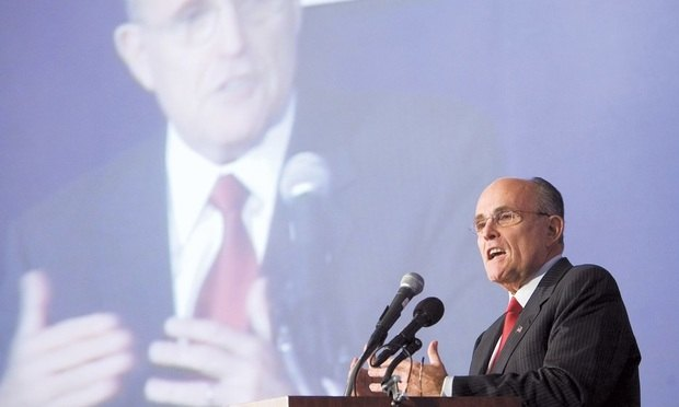 Rudy Giuliani speaks at a Federalist Society convention in Washington in 2007. Credit: Diego M. Radzinschi/ NLJ