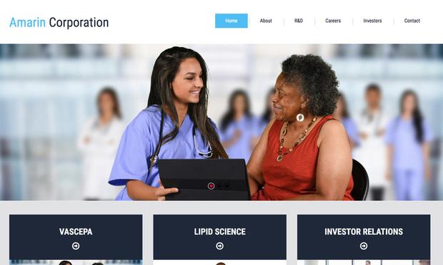Screenshot of Amarin Corp.'s website