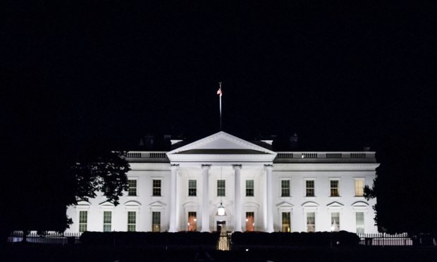The White House in Washington, D.C. at night. July 9, 2018.