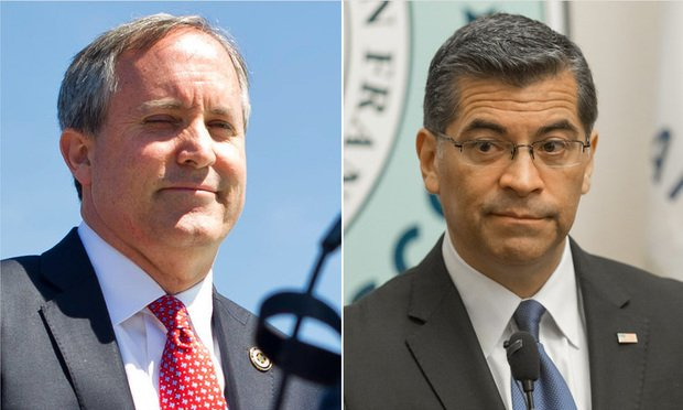 Texas Attorney General Ken Paxton (left) and California Attorney General Xavier Becerra (Courtesy photos)